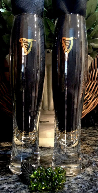 Limited Edition GUINNESS ~ 1759 Signature Series Gold Foil Flutes (2) PRISTINE!