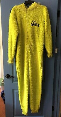 Dr. Seuss The Grinch One Piece Jump Suit Halloween Rave Costume Unisex - Small