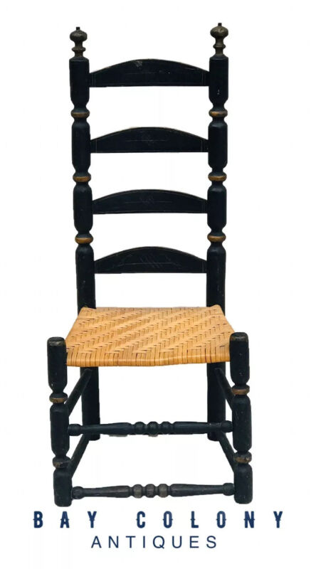 18TH C ANTIQUE WILLIAM & MARY NEW ENGLAND LADDER BACK CHAIR