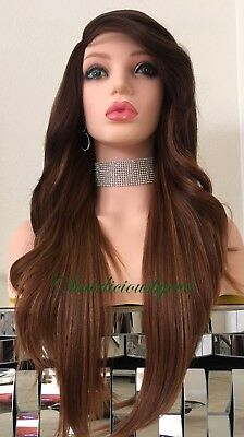 auburn Wig Balayage 24 Inch Long Wavy Layered Straight Heat Resistant Ok](Auburn Mermaids)