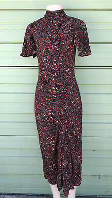 NWT ZARA MULTICOLOURED FLORAL PRINT LONG FLOWING DRESS Size S 2216 RE: 8514/154