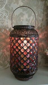 Vintage Large Jewel Brass Metal Moroccan Lantern Style Floor Table Lamp NEW
