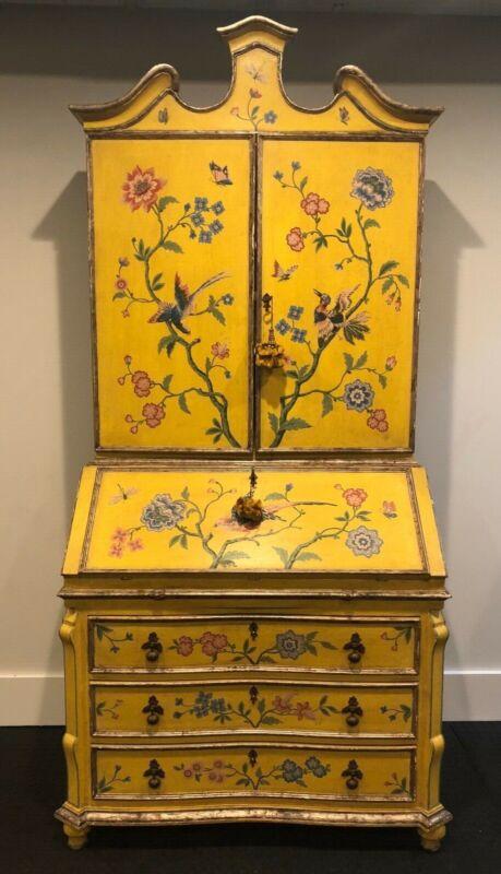 Antique European 2 Piece Hand Painted Secretaire, Desk- Floral, Birds, Yellow