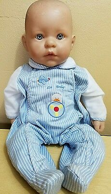 "18"" Berenguer Baby Cloth Body Life Like Doll Blue Eyes Open Mouth Adorable!"