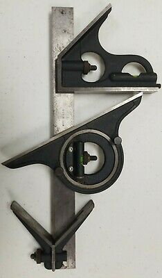 Machinist Combination Square Set 12 Ruler Brown Sharpe 599-438-1204 Wbox