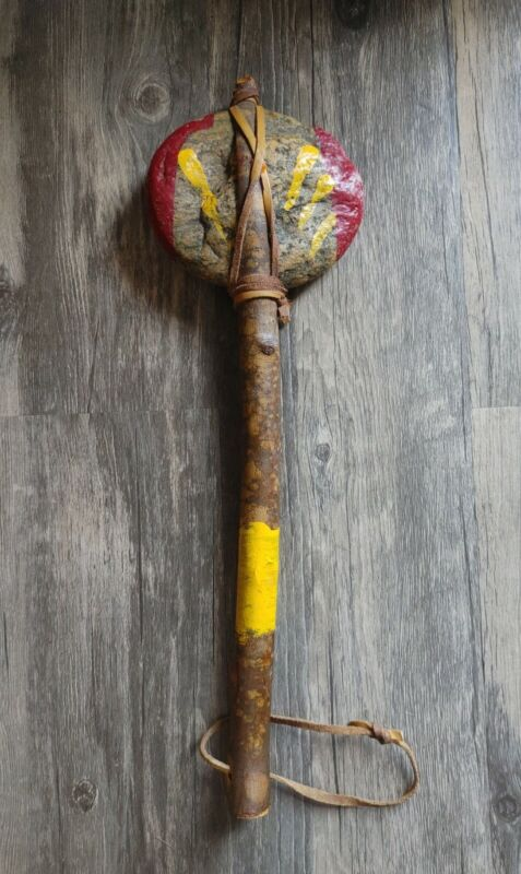 Native American Indian Tomahawk with Large Stone/Rock 17 inches long