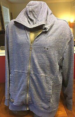 Oakley Blue Mens Hooded Sweatshirt Jacket Full Zip Large