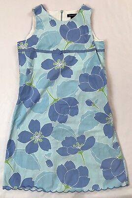 Lands End Girls Bow - Lands End Kids Girls 12 Years Blue Big Floral Bow Sleeveless Cotton Dress