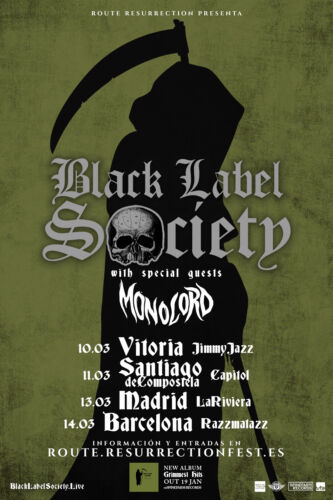 BLACK LABEL SOCIETY / MONOLORD 2018 SPAIN CONCERT TOUR POSTER- Heavy Metal Music