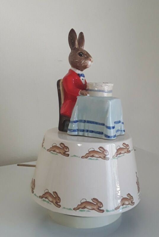 Working Royal Doulton Bunnykins A Happy Birthday Rabbit Revolving Music Box