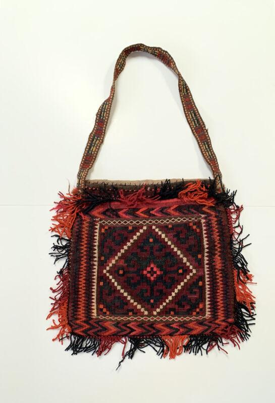 Antique Kilim Wool Shoulder Bag Purse Shepard Persian Afghan Woven Turkish Vtg