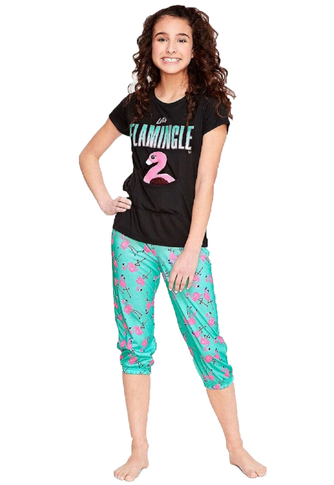 NWT Justice Girls Size 10 Let's Flamingle Pouch Pajama Set +