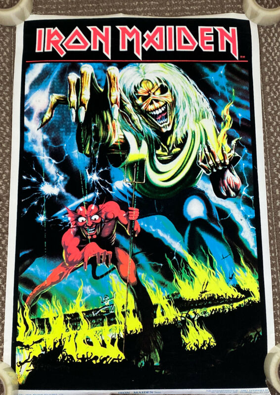 VINTAGE 1983 Iron Maiden Number Of The Beast Black Light Poster 23x35 Flocked