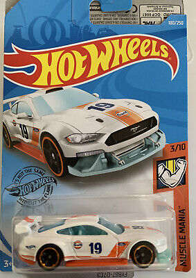 New Hot Wheels 2018, WHITE GULF Racing, Custom '18 Ford Mustang GT. Card In VGC