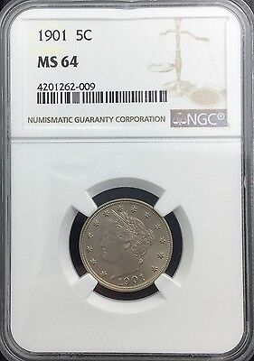 1901 LIBERTY NICKEL FIVE CENTS NGC MS64  MINT STATE   LUSTROUS GREAT TYPE