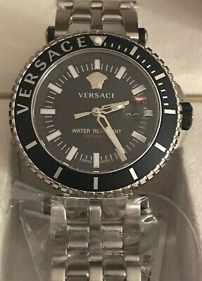 New Versace VEAK00418 V-Race Diver Black silver Stainless Steel Men's Watch