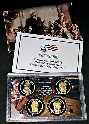 2009-S Presidential Dollar Proof Set 4 Coins US Mint (with Box & COA)