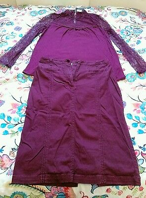 1950's style ladies stretch pencil skirt top outfit lace burgundy size 14 ()