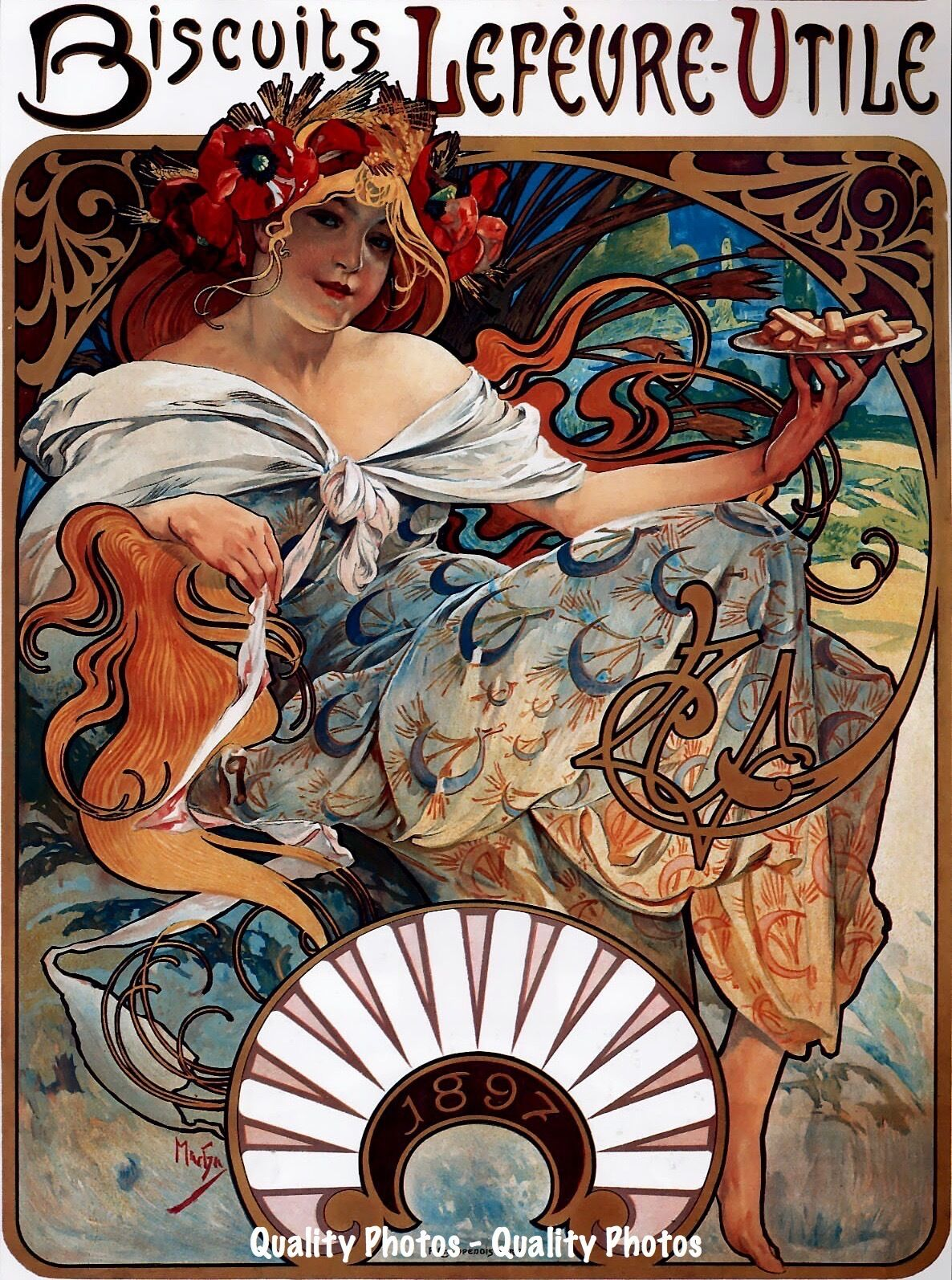 Art Nouveau Cookie Ad 8 5x11 Photo Print French Lady Biscuits Alphonse Mucha Ebay