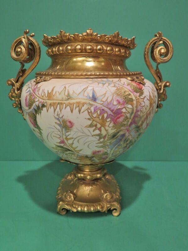 Royal Bonn Porcelain Vase Jardiniere w Bronze Ormolu Mounts 19th Century