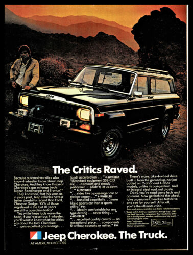 1981 JEEP CHEROKEE Black Vehicle Vintage Photo AD