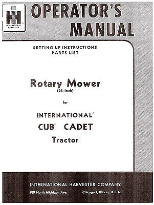 Cub Cadet 38 Inch 38 Rotary Mower Deck Owners And Parts Manual 1-007-477-r6