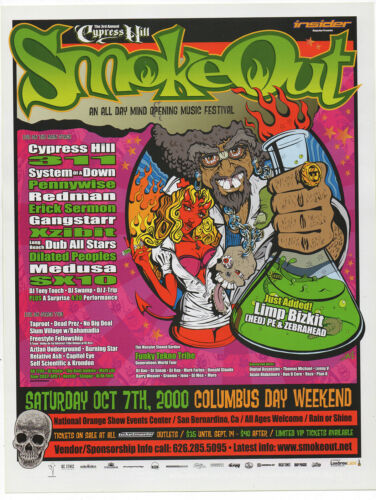 MINT ORIGINAL 2000 1st ANNUAL CYPRESS HILL SYSTEM OF A  DOWN SMOKEOUT HANDBILL
