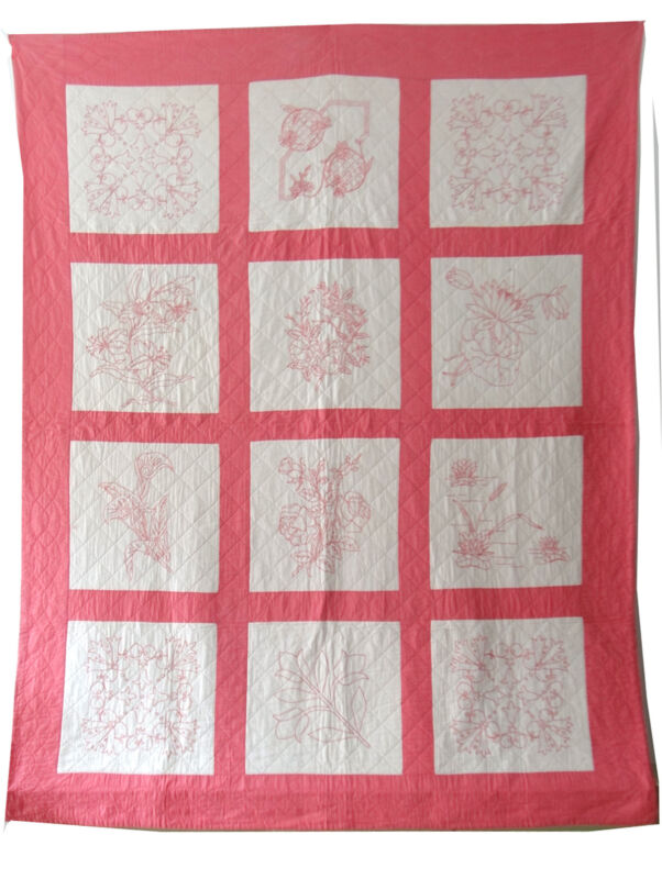 Antique 1930 Pink Embroidered Quilt