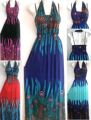 PLUS SIZE Women Long Maxi summer beach party hawaiian evening peacock - Peacock Party