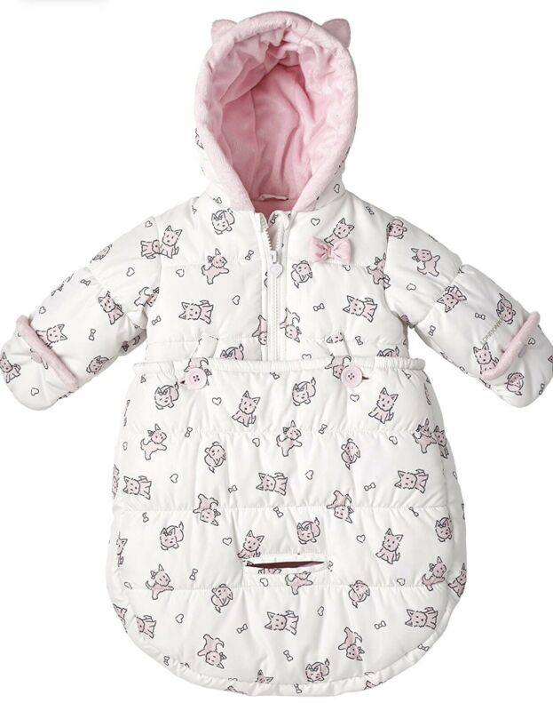 London Fog Baby Bunting Pink Puppy Bows Girl 0-6 Months Coat Zipper Buttons Hood
