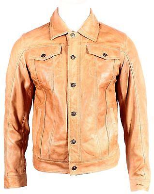 Herren Napa Leder (Trucker' Neue Jeans Herren Gewachst Braun Napa Weich Echt Western Leder Rock)