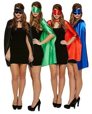 Ladies Blue Green Red Black Superhero Hero Villain Cape Mask Fancy Dress - Hero Villain Kostüm