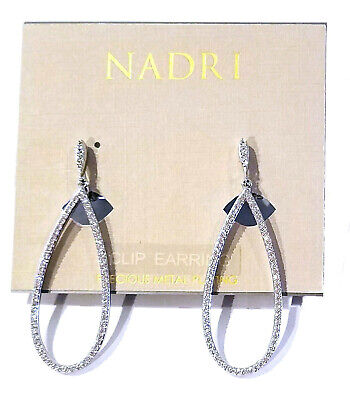 Nadri Pave Cubic Zirconia CLIP Drop Earrings Rhodum Plated Silver Tone -