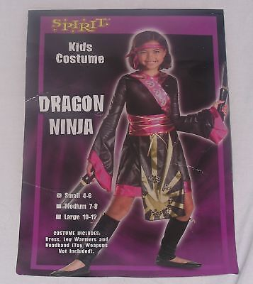 Girls Costume Sz S Dragon Ninja Dress Leg Warmers Pink Cosplay Dark - Girls Pink Ninja Costume