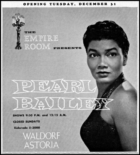 1957 Pearl Bailey The Empire Room Waldorf Astoria vintage photo print ad ads44