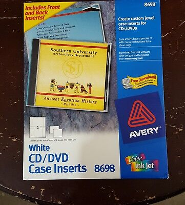 Avery 8698 CD DVD White Jewel Case Inserts 20 Sheets Labels New
