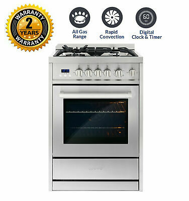 24 IN. 2.73 Cubic Feet, Single Oven Gas Range with 4 Burner Cooktop