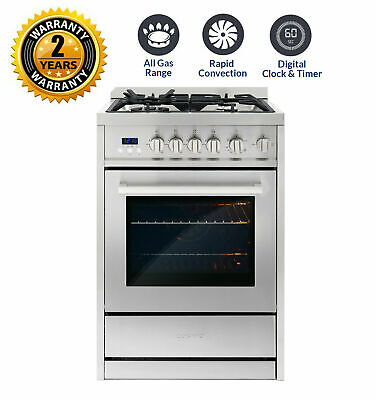 Cosmo 24 In. 2.73 Cubic Feet, Single Oven Gas Range with 4 B