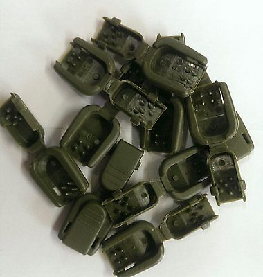 Plastic Green Olive (10 Olive Drab Army Green Plastic Zipper Pull Cord Lock Ends)
