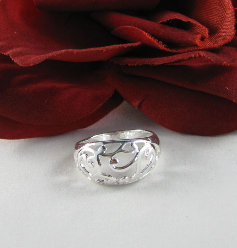 Sterling Silver Ornate Open Work  Ring Size 8  FERAL  CAT RESCUE