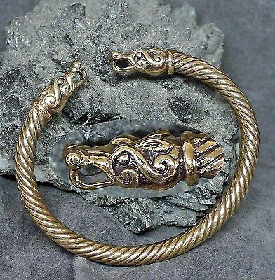 stabiler Drachen Armreif Wikinger Armspange aus Bronze Drachenköpfe Handarbeit