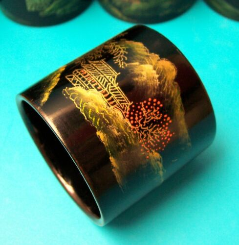 10 Vintage Lacquer Japanese Hand Painted Napkin Rings