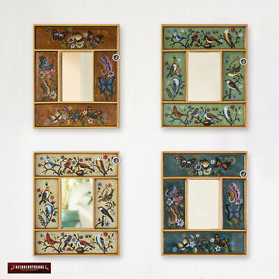 Peruvian Small Mirror set 4, Painting on Glass Accent Mirror