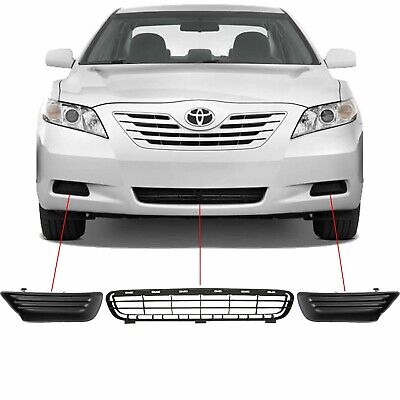 3 Piece FRONT LOWER BUMPER GRILLE & FOG LIGHT BEZELS Fits 2007-2009 Toyota Camry 3 Piece Bumper Grille