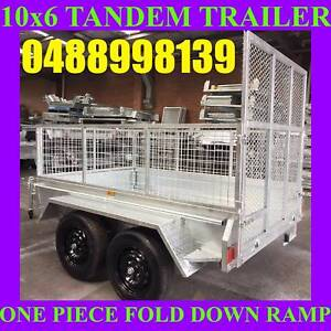 10x6 galvanised tandem trailer with ramp and cage heavy duty new