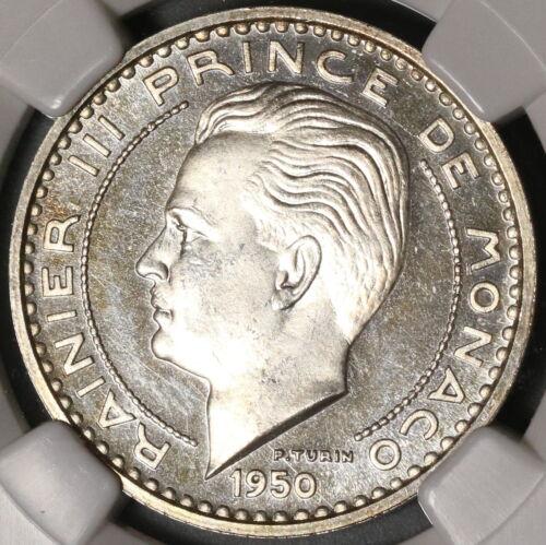 1950 NGC PF 63 Monaco Essai 50 Francs Silver Rainier Proof Coin (20062904C)