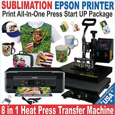 8 in 1 COMBO HEAT PRESS TRANSFER SUBLIMATION Plus PRINTER EPSON  START UP PACK