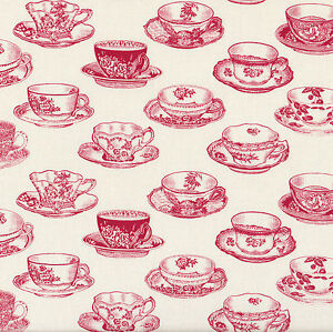 Red Antique Teacups Quilting Fabric Tea Cups Fat Quarter or By The  Metre NEW