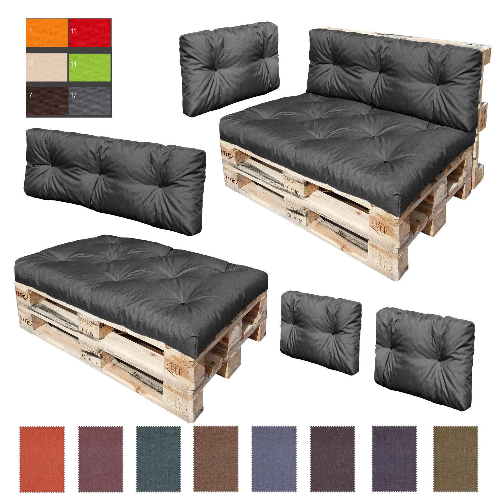 palettenkissen kaltschaum kissen palettensofa. Black Bedroom Furniture Sets. Home Design Ideas