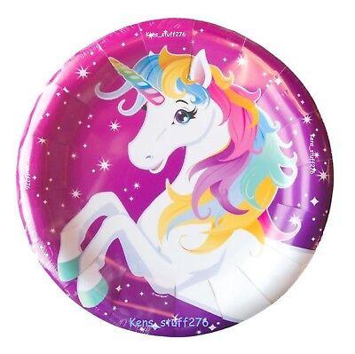 Rainbow Unicorn Birthday Party Plates, 9